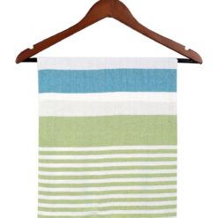 Striped Turkish Towel Peshtemal Green Turquoise