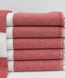 Kassatex hammam bath towel collection 100 Turkish cotton Istanbul Peshtemal Red (6)