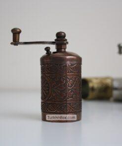 Small Turkish Pepper Grinder Dark Copper