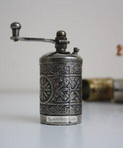 Small Turkish Pepper Grinder Dark Silver