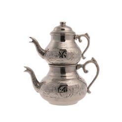 Copper Turkish Tea Pot Shiny Silver Small