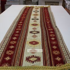 Cream - Red Kilim Patterned Turkish Table Runner