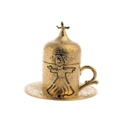 Dervish Collections Turkish Coffee Cup Shiny Gold