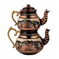Embroidered Copper Turkish Tea Pot Small