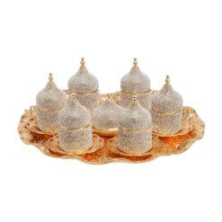 Gold Swarovski Crystal Coated Turkish Coffee Espresso Serving Set for 6