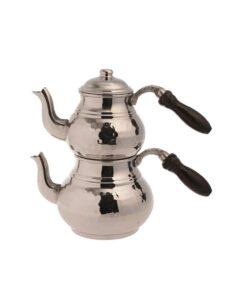 Hammered Shiny Silver Turkish Tea Set Small