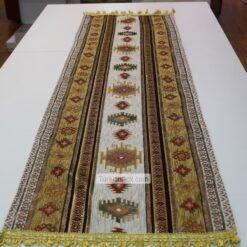 Mustard - White Kilim Patterned Turkish Table Runner