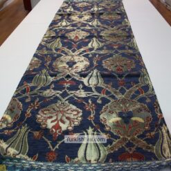 Navy Blue Turkish Tulip Patterned Floral Table Runner mothers day gifts