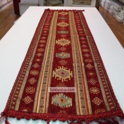 Red Kilim Patterned Turkish Table Runner