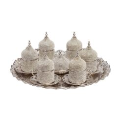 Silver Swarovski Crystal Coated Turkish Coffee Espresso Serving Set for 6