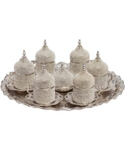 Silver Swarovski Crystal Coated Turkish Coffee Espresso Serving Set for 6
