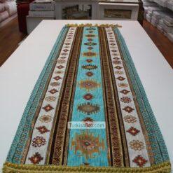 Turquoise Kilim Patterned Turkish Table Runne