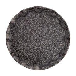 Decorative Tray for Ottoman Corrugated Dark Silver
