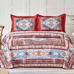 Karaca Ruby Bedspread Set Tile Red