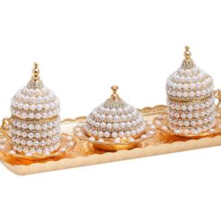 Pearl Drop Shiny Gold Turkish Coffee Set for 2